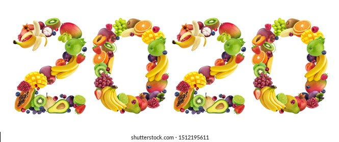 Happy New Year 2020. Number 2020 made of tropical and exotic fruits. Fresh fruits and berries composed in 2020 inscription. Creative typography, banner design. Sweet winter dessert ingredients