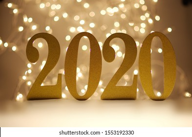 Happy New Year 2020, Number 2020 and Blurry Lights