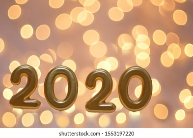Happy New Year 2020, Number 2020 and Blurry Lights - Out Of Center