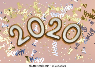 Happy New Year 2020, Number 2020 and Party Confetti