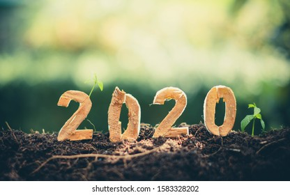 Happy New Year 2020 social media video.2019-2020 change background new year resolution concept.wood text on ground.Perfect for your invitation or office card