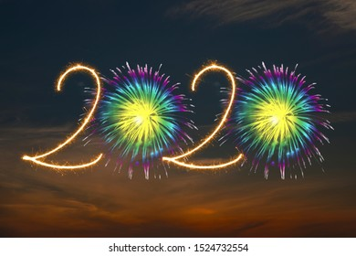 Happy New Year 2020 with Sparklers Squib