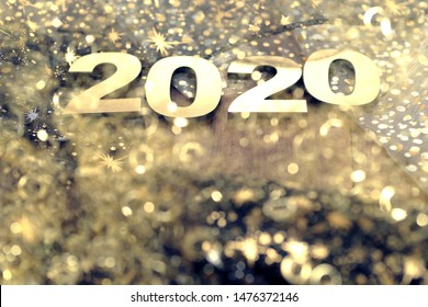 Happy New Year 2020. Symbol from number 2020 on abstract background
