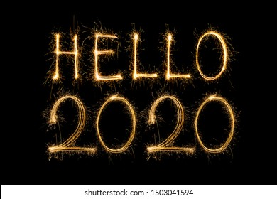 Happy new year 2020 text written with Sparkle fireworks isolated on black background,Hello 2020