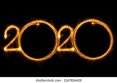 Happy New Year 2020 written with Sparkle firework