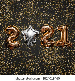 Happy New year 2021 celebration. Bright gold balloons figures, New Year Balloons with glitter stars on dark background. Christmas and new year celebration. Gold foil balloons 2021 gift card