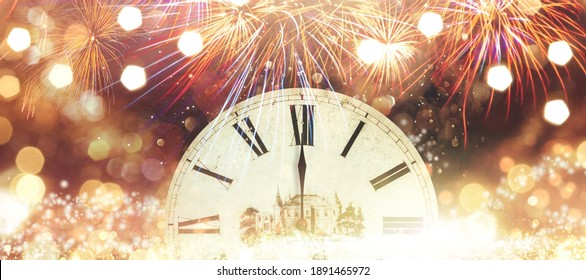 Happy New Year 2021 Clock And Fireworks Waiting Midnight