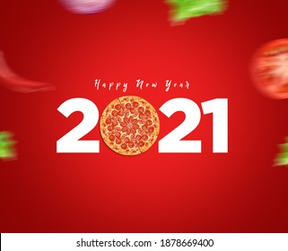 Happy New Year 2021 concept for restaurant or pizza brand isolated on gorgeous red background. Pizza new year concept.