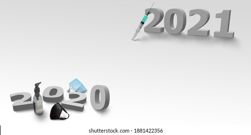 Happy new year 2021 corona virus or covid-19 concept