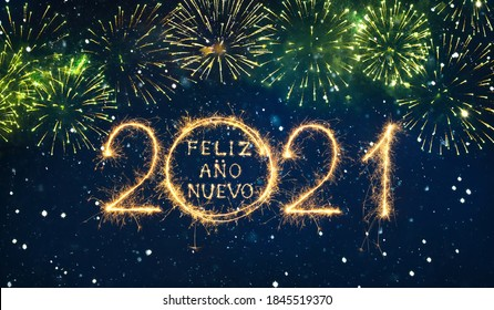 Happy New Year 2021. Creative card with lettering Feliz Ano Nuevo 2021 Spanish language written written sparklers on festive blue background.. Beautiful holiday web banner or billboard.