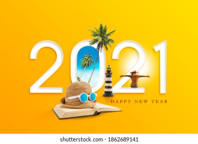 Happy new year 2021. Happiness and travel destination concept.