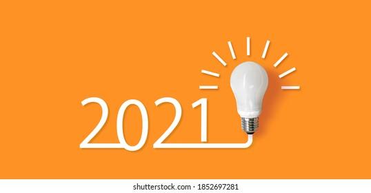 happy new year 2021. year 2021 with llightbulb. creativity inspiration ,planning ideas concept