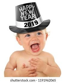 Happy New Year baby boy, 2019 Studio isolated on white.
