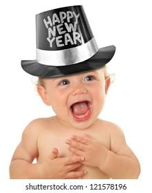 Happy New Year baby boy, studio isolated on white.
