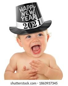 Happy New Year Baby Boy, Studioaufnahme einzeln auf Weiß. 2021