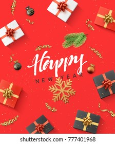 Happy new year background. Christmas composition. gift, confetti, golden snowflake and Xmas balls.