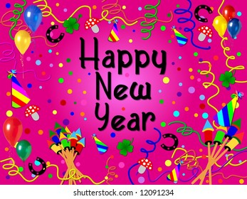 happy new year background pink