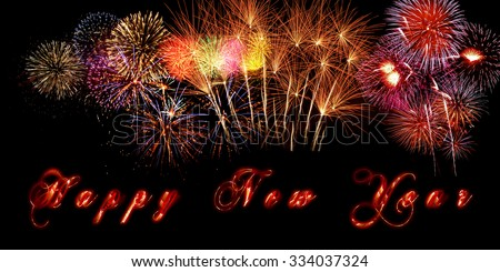 happy new year banner with fireworks and burning letters