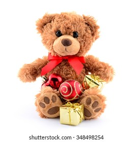 Happy new year brown teddy bear and gift isolated on white