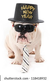 Happy New Year Bulldog wearing Sunglasses, hat and Tie