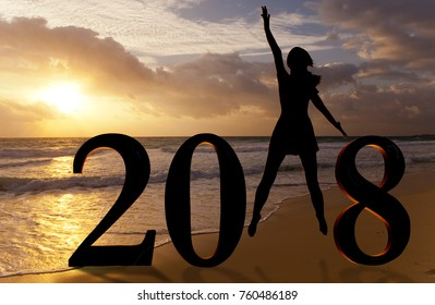 Happy new year card 2018. Silhouette of young woman on the beach as a part of the Number 2018 sign.