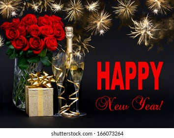 happy new year card concept red roses bottle of champagne golden gift