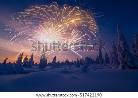 happy new year card with firework forest and northern light