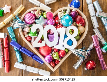 Happy new Year with colorful party crackers and decorations