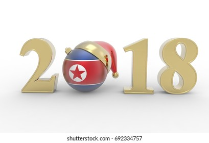 happy new year with country flag 3d illustration