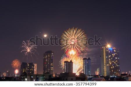 happy new year fireworks in bangkokthailand