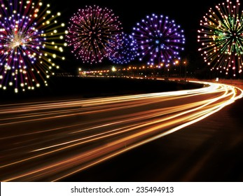 Happy New Year fireworks and city cars highway lights with copy space for your own text.
