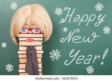 happy new year funny education idea with women teacher