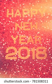 Happy New Year gold inscription on red shiny holiday background illustration design.