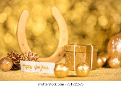 happy new year, golden decoration with text