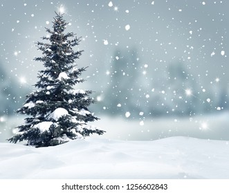 Happy New Year greeting card with Christmas tree .
