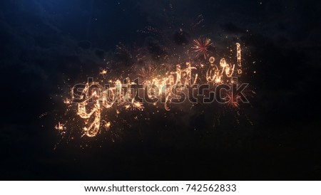 Happy New Year Greeting Text In Swedish With Particles And Sparks On Black  Night Sky With