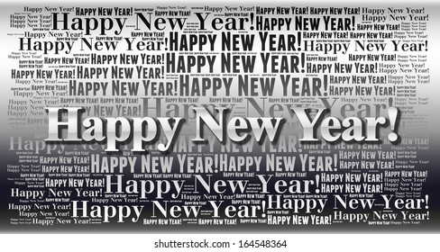Happy New Year holiday word cloud background