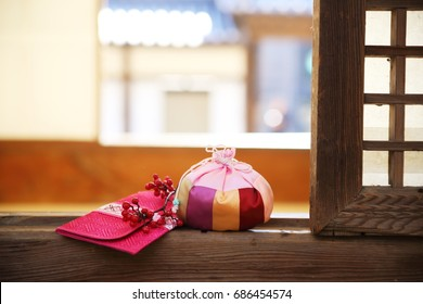 happy new year image of Korea,lucky bag and gift envelope