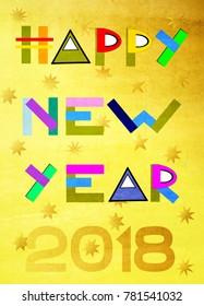 Happy New Year inscription background. Simple illustration design.