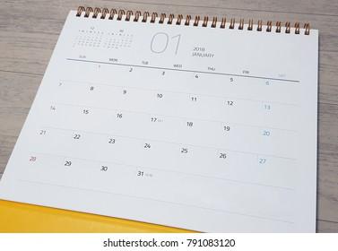 Happy new year./ January, 2018./ 2018 January calendar.