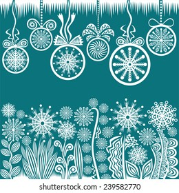 Happy new year merry christmas card illustration