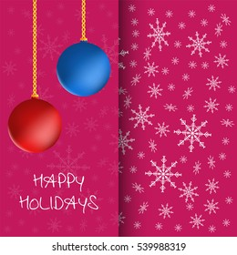 Happy New Year and Merry Christmas greeting card with christmas balls and snowflakes.
