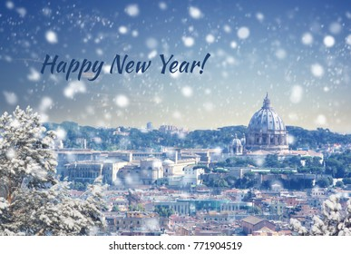 Happy new year and Merry Christmas background : Aerial view of Rome cityscape at winter sunset in Italy. Vintage colored picture. X-mas, Business, Love and travel concept .