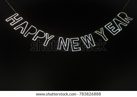 Happy New Year Message Glittery Silver Stock Photo (Edit Now ...