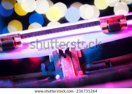 happy new year messages type on old typewriter focus on text bokeh light