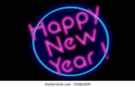 happy new year neon 80 s