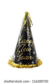 Happy New Year party hat, black with gold lettering, cone-shaped,  shiny, gold fringe and tassel. Vertical,, isolated on white background.