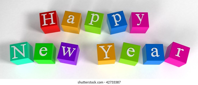 """""""happy new year"""" phrase compiled with a cubes - 3d rendering"""