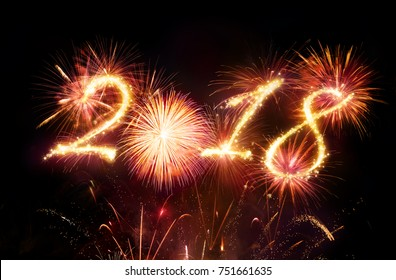 Happy New Year - Red Fireworks Explosion - 3d Illustration