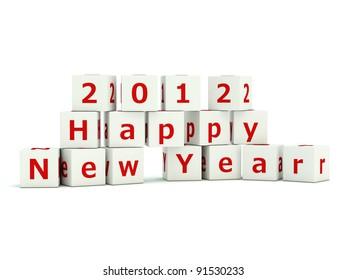 Happy New Year sign on bricks